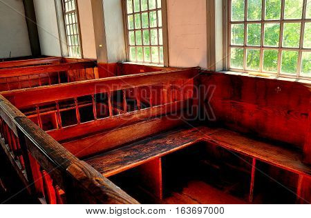 Rockingham Vermont - September 18 2014: Interior of the 1787 Meeting House church with hand-hewn wooden pews *