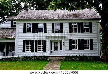 West Arlington Vermont - September 19 2014: 1792 Inn on the Covered Bridge Green is a classic white clapboard New England colonial-era building