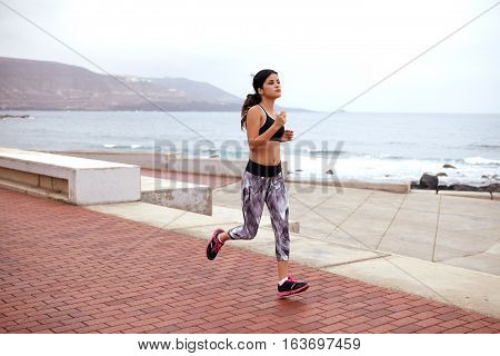 Young Female Jogger On The Esplanade