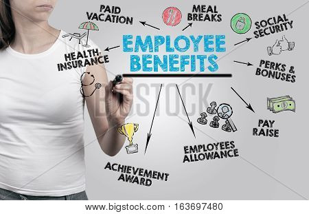 Employee Benefits Concept. Woman on gray background