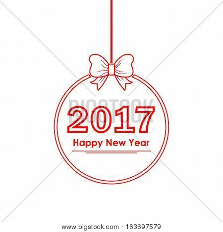 Christmas ball with text Happy New Year 2017. Vector illustration. Red round frame with bow and 2017 year number inside
