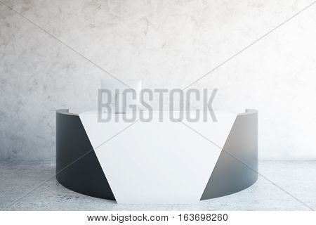 Front view of modern reception desk in room with concrete wall and floor. 3D Rendering