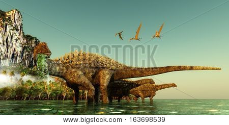 Ampelosaurus Dinosaurs 3D illustration - Ampelosaurus dinosaurs wade out into the water to eat underwater vegetation in the Cretaceous Period.