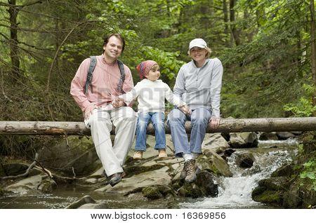 Mountain trek - family on trek