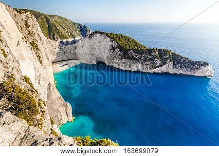 Amazing Navagio beach with shipwreck on Zakynthos island. Ionian sea Greece.
