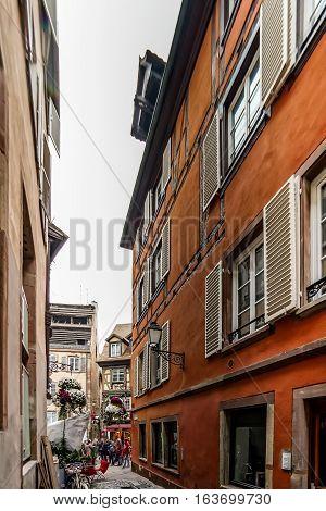 Little Street In Old Historical Center Of Strasbourg
