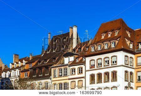 Beautiful Form Of Old Roofs, Strasbourg, Sunny Winter Day
