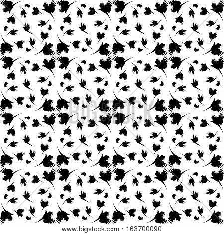 Monochrome pattern with imitation feathers. The texture of fabric from the shadows of birds.