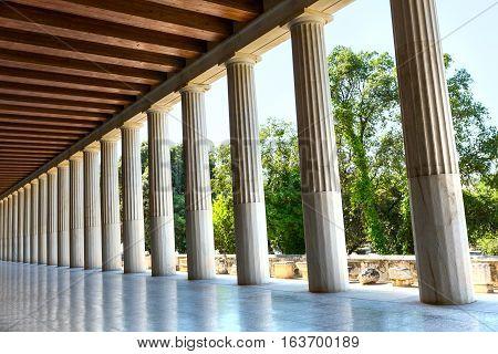 Columns perspective of Stoa of Attalos in Ancient Agora, Athens Greece