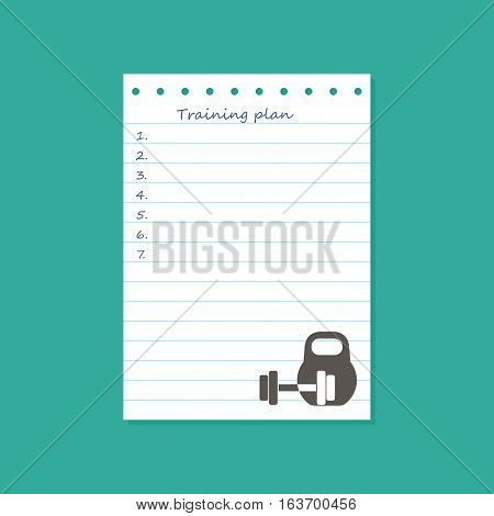 Sheet with the plan of sports training on the table top view. Vector illustration.