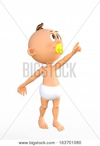 3D render Cute cartoon baby with a pacifier pointing up