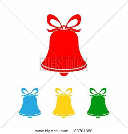 Set of christmas hand bells icon isolated. Hand bells with bow in four colors. Vector illustration.
