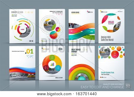 Business vector. Brochure template layout, cover soft design annual report, magazine, flyer in A4 with colourful circle, rounds, sphere for business, tech. Abstract art with overlay effect. Mega set