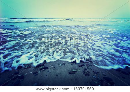 Cold sea or ocean with waves. Water in nature.