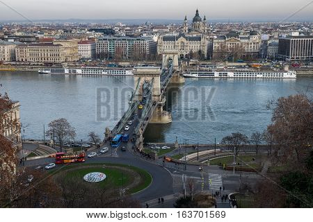 Aerial View Of Chain Bridge On Danube River And St. Stephen's Basilica. Budapest, Hungary