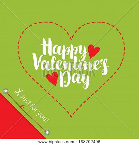 vector greeting card with inscription happy valentines day and hearts