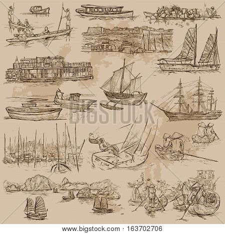 Ships and Boats around the World. Collection of an hand drawn vector illustrations. Each drawing comprises of three layers of outlines the colored background is isolated.