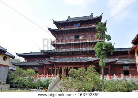 Wanfo Lou (Thousand Budda Hall) of Pilu (Vairocana) Temple in downtown Nanjing, Jiangsu Province, China. Pilu Temple was built in 1522 AD, and is one of the most antique temples in Nanjing.