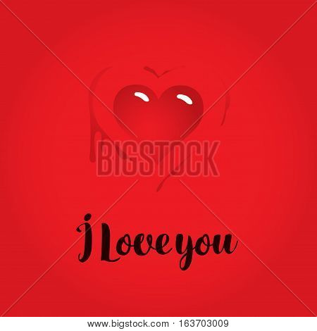 vector greeting card with inscription i love you with heart and blood