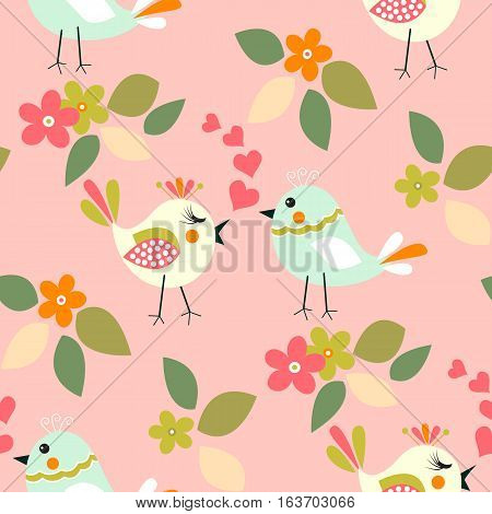 Cute mint color birds seamless pattern with little flower, hearts and leaf on a pastel salmon, background.