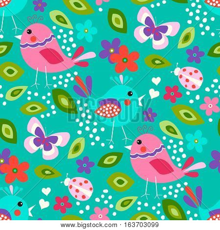 Cute birds seamless pattern with little flowers and butterfly, ladybug on a turquoise background.