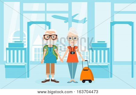 Grandfather and grandmother with a packsack travel. Travelling with the knapsack. Background of airport interiors. Travel Concept. Vector Illustration eps 10 in flat style
