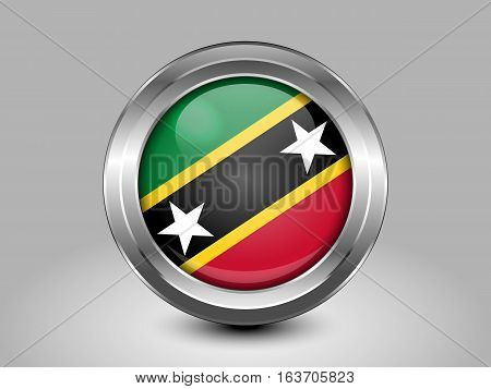 Flag Of Saint Kitts And Nevis. Metal And Glass Round Icon