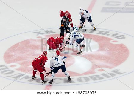 Podolsk - October 30, 2016: I. Saprykin (26) And A. Kitarov (77) On Faceoff On Hockey Game Vityaz Vs