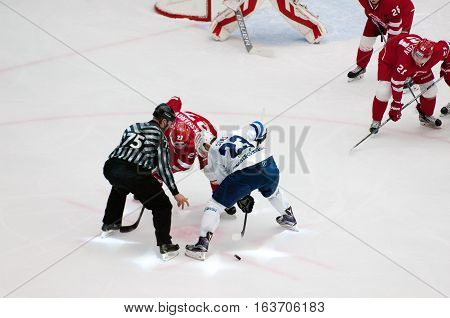 A. Stas (23) And Y. Koksharov (27) On Faceoff