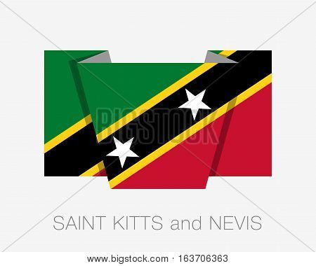 Flag Of Saint Kitts And Nevis. Flat Icon Wavering Flag With Country Name