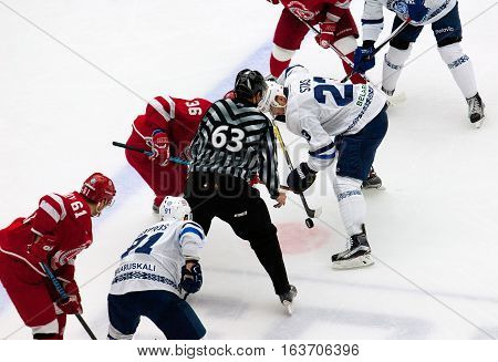 A. Nikulin (36) And A. Stas (23) On Faceoff