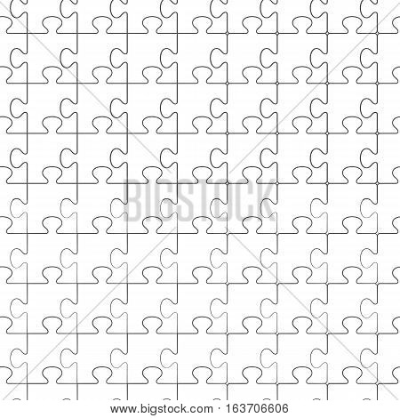 Set of vector black and white seamless pattern with puzzles.