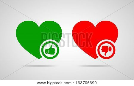 Green heart with thumb up. Red heart with thumb down. Yes and No concept. Vector illustration.
