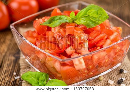 Cutted Tomatoes On Vintage Wooden Background