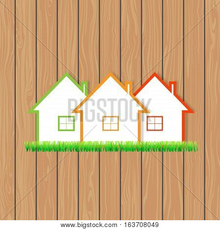 Houses for sale on the wooden background. Vector illustration .