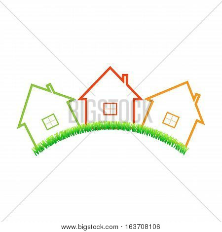 Real estate home on a white background. Vector illustration .