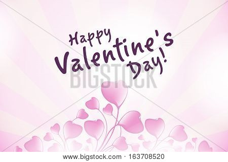 Valentines Day Greeting Card with Hearts, Abstract Hearts in the sky with clouds.