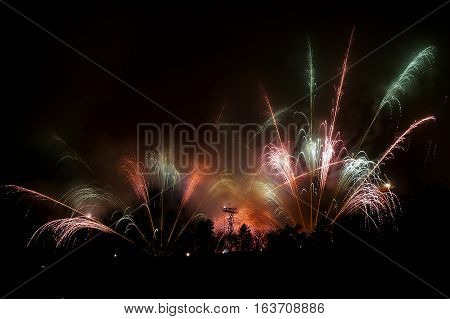 Great Fireworks With Many Sparks And Lights