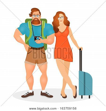 Young Couple The Travelers. Bearded Hipster Male In Eyeglasses And Camera Together With His Girlfrie