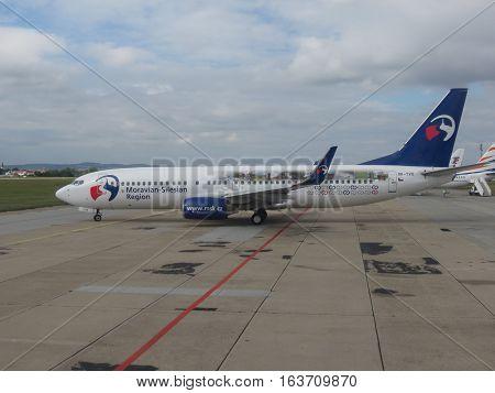 BRNO CZECH REPUBLIC - CIRCA SEPTEMBER 2016: Travel Service Airline (Czech Republic) Boeing 737-800 with the Moravian-Silesian Region logo