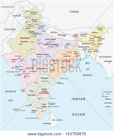 india administrative and political zones vector mapmap