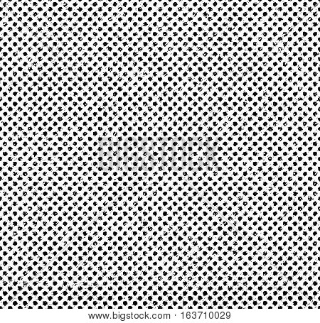Grunge pattern of small dots. Grungy black halftone pattern. Vector seamless