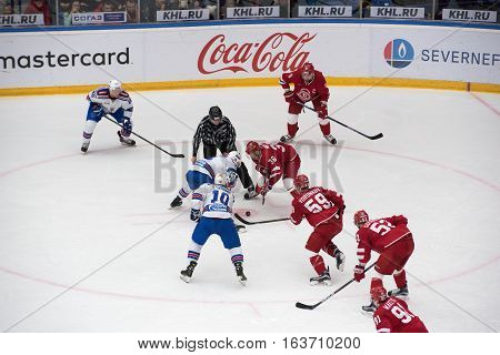 A. Nikulin (36) And J. Koskiranta (4) On Faceoff