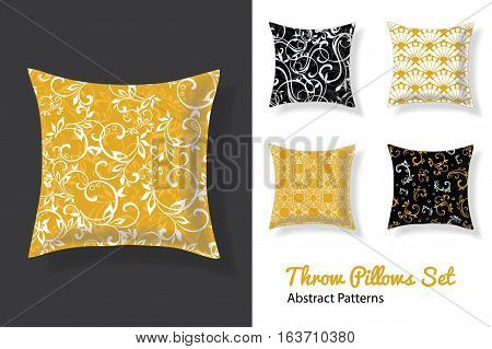 Set Of Vector Throw Pillows In Matching Unique Neutral Nursery Room Patterns. Square Shape. Editable Vector Template. Surface Pattern Textile Design.