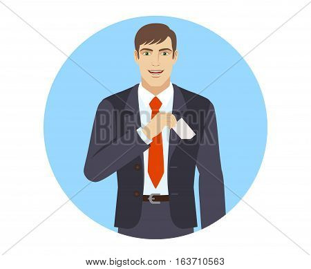 Businessman puts the business-card in his pocket. Portrait of businessman in a flat style. Vector illustration.