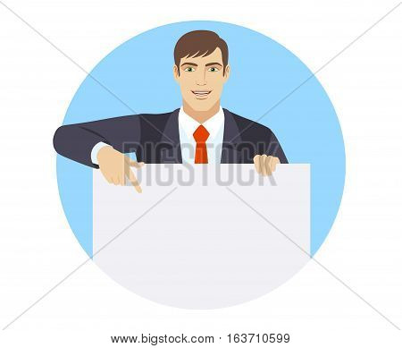 Businessman holding white blank poster. Businessman pointing at banner over white. Portrait of businessman in a flat style. Vector illustration.