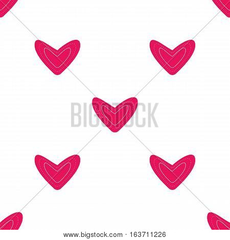 Seamless pattern with dark pink hearts on white background