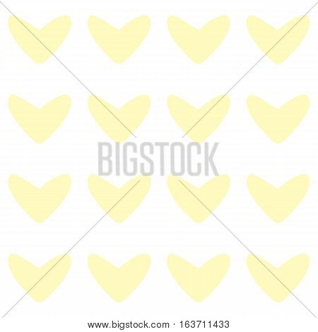Seamless pattern with light yellow hearts on white background