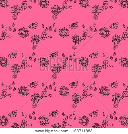 Tiny flowers seamless pattern on pink background
