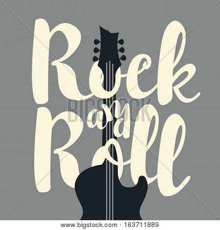 vector banner with the words rock and roll and an electric guitar